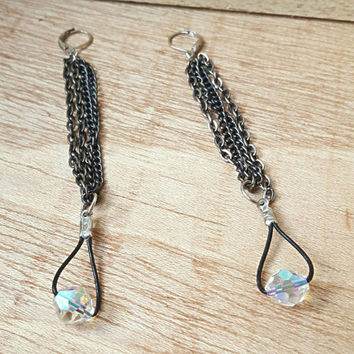 Crystal Earrings - Extra Long Dangle Earrings - Swavorski Earrings - Simple Bridal Jewelry
