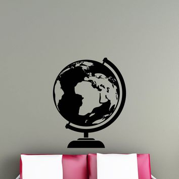 Globe Wall Vinyl Decal Earth Travel Around The World Geography Sticker Office School Home Kids Room Nursery Interior Mural Art Decor Made in US