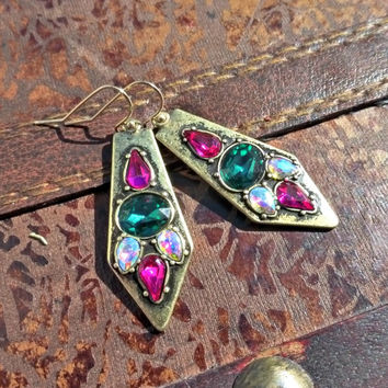 Gold earrings with rhinestones. Pink, emerald green, AB gems in gold.