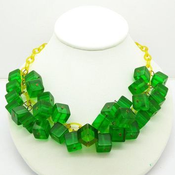 Bakelite Green Prystal Cubes Celluloid Chain Drop Necklace