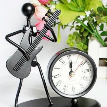 classic vintage retro clock ironman play the guitar  hand-made craft metal model for home coffee bar ornaments decoration