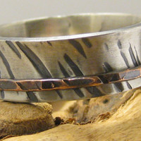 Hammered tree bark sterling silver ring rustic wedding engagement band fidget worry anxiety