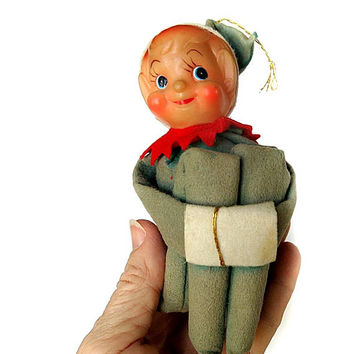 Knee Hugger Elf Christmas Ornament Vintage 1950s 60s Holiday Tree Decor Cute Face