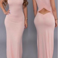Round neck Hollow Out Pink Maxi Sheath Dress