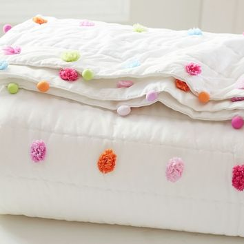 Bright Pom Pom Quilted Bedding