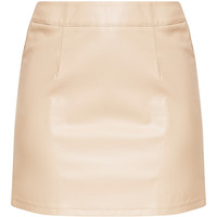 Rose Stone Faux Leather A-Line Mini Skirt