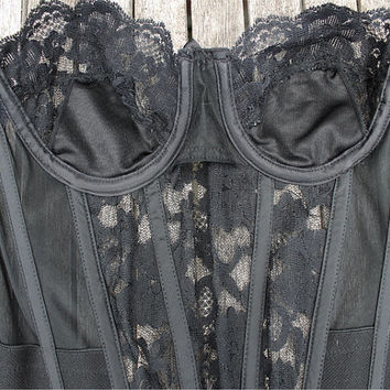Vintage Victoria Secret Black Lace Bustier