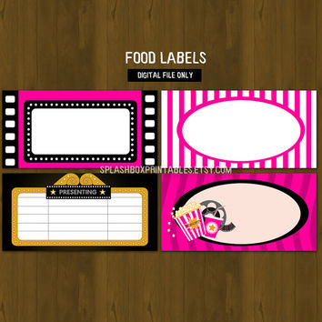 Hot Pink Movie Night Printable Food Labels - Cinema Popcorn and Movies Party Place Cards or Food Labels (Tent Cards) - INSTANT DOWNLOAD