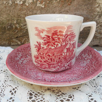 Tea Cup and Saucer - Red Transferware - J G Meakin MERRIE ENGLAND - Ironstone - England