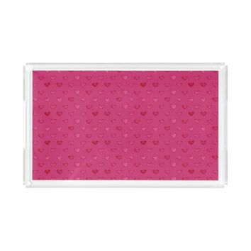 Watercolor Hearts Pattern Serving Tray