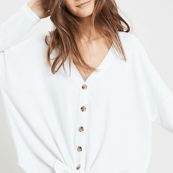 Women's Marled Button Front Top with V-Neck and Front Tie