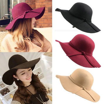 New Vintage Women Lady Wool Felt Floppy Wide Brim Fedora Bowler Cloche Hat Cap = 1946897668