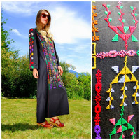 Vintage 60s 70s Black Native Embroidered Maxi Dress / Southwestern Embroidered Caftan / Boho Hippie / Cotton Tunic Dress / Bohemian Festival