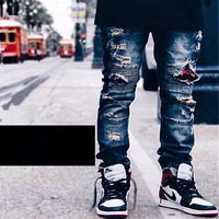 Distressed Men Biker Denim Jeans