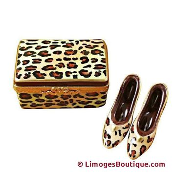 LEOPARD SHOE BOX W/SHOES LIMOGES BOXES