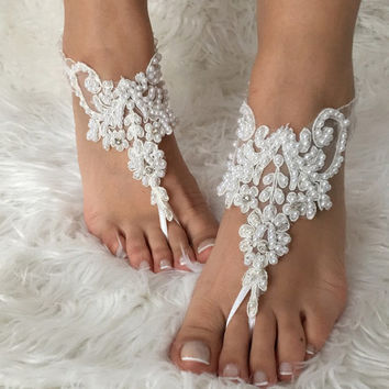 White pearl lace barefoot sandals, FREE SHIP, beach wedding barefoot sandals, bridal anklet, lace shoes, bridesmaid gift, beach shoes