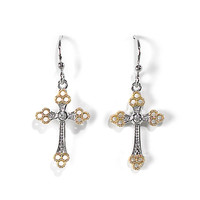 Jody Coyote Earrings from the Grace Collection - Two-Tone Cross with Clear CZ