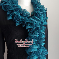Peacock Teal Ruffle Scarf,Sashay Scarf, Spring Scarf,Handmade by Amy - A014