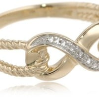 10k Yellow Gold Infinity Diamond Ring, (0.02 cttw, I-J Color, I2-I3 Clarity) Size 7