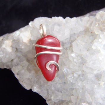 Tiny Red Jelly Fire Opal Mini Pendant Charm Sterling Silver .925 Tension Set Art Wrap Mexican Bright Hippie Jewelry Wicca FREE SHIPPING