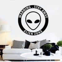Vinyl Wall Decal Alien Zone UFO Extraterrestrial Art Teen Room Stickers Unique Gift (ig3712)