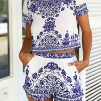 White Printed Short Sleeve Blouse with Shorts Twinset