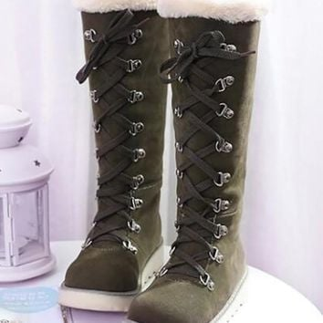 New Army Green Round Toe Sequin Fashion Mid-Calf Boots