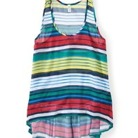 Sheer Striped Chiffon Hi-Low Tank