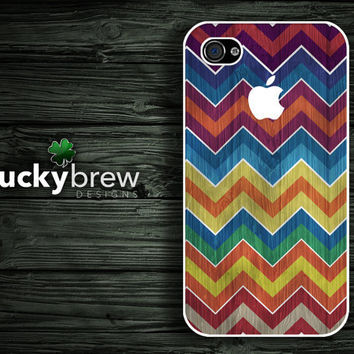 iPhone 4 4s Hard Case - Chevron Wood Colorful - Phone Cover