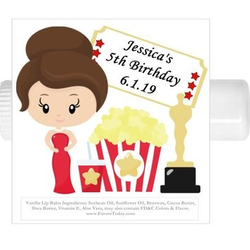 15 Movie Night Oscars Birthday Party Lip Balm Favors Brown Hair
