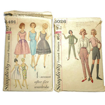 Two Vintage Simplicity Dress Pattern Shirt Pants 4491 5026 Size 16 Bust 36 1960's Retro Clothes Pattern