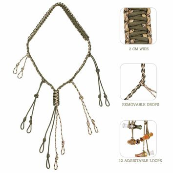 PSKOOK Duck Call Lanyard with 12 Adjustable Loops Hunting Goose Calls  Outdoor Paracord Hunting Hand Braided Necklace
