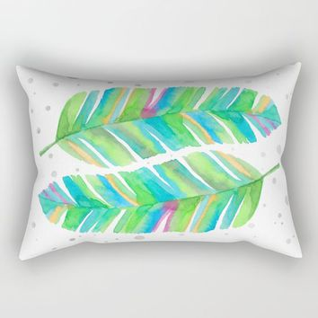 Abstract Tropical Banana Leaves - Green Palette Rectangular Pillow by The Unfinished Sketchbook
