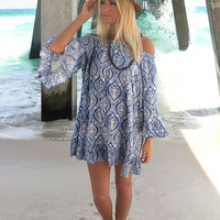 Tiki Stands And Coconut Juice Off The Shoulder Blue Print Ruffle Peasant Dress