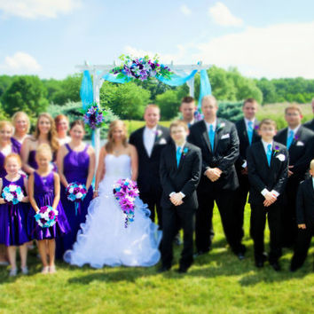 13pc wedding bridal party flower-Turquoise Malibu Purple(bouquet,boutonniere,corsage)