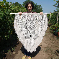 Large macrame wall hanging Large wall decor Bohemian decor Woven wall hanging Living room decor Birthday gift mother Bohemian wall tapestry