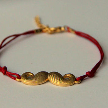 """Minimalist Bracelet gold plated moustache with red string Alexander Henry's """"Where's my Stache"""""""