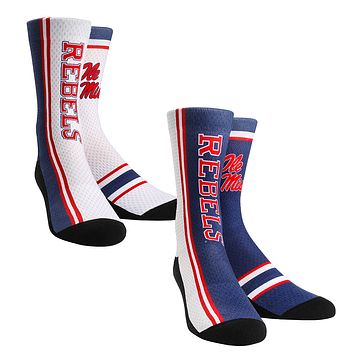 Rock Em Elite Ole Miss Rebels Home Away Jersey NCAA Crew Socks (2-Pack)