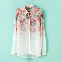 SIMPLE - Gradient Color Long Sleeved Chiffon Women Shirt b5404