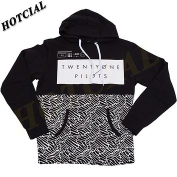 Sweatshirts Fashion Men Patchwork 2016 Spring Twenty One Pilots Half Pattern Pullover Print Black Plus Size Casual Hoodie