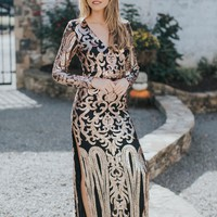 Gatsby Sequin Formal Gown, Nude/Bronze