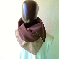 Men scarf. Men cowl,  Extra Wide,light brown  wool 100% and chocolate brown polyamide. Trendy, modern, chunky  and cozy. READY TO SHIP.