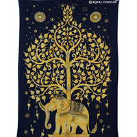 Twin Size Black  Golden Elephant Tree Tapestry Wall Hanging on RoyalFurnish.com