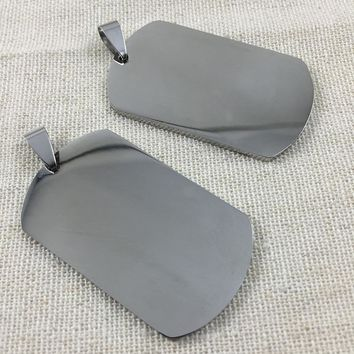 50pcs/lot Personalized  Stainless Steel Dog Pet Tag,Free Shipping Military Dog Tag Pendant Charm
