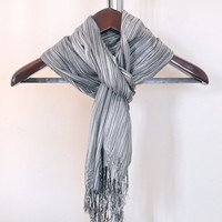 Men Scarf, Gray Dark Gray Striped Scarf, Long Scarf, Rectangular Scarf, Fashion Accessories, Gift for him, Extra Soft Light Weight