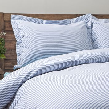 Oxford Stripe 100-percent Cotton Yarn Dyed 3-piece Duvet Cover Set - Free Shipping Today - Overstock.com - 17403495 - Mobile