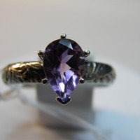 1.90ct Solitaire Amethyst Lt Purple Sterling Silver ring size 9 ~10x7mm Pear New