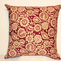 "Pillow Covers 18"" Set of Two - Red Floral Pattern"