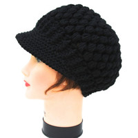 Black Newsboy Hat - Crochet Visor Tam - Cotton Headwear - Women's Cap - Brimmed Beanie - Crochet Accessories
