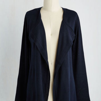Mid-length Long Sleeve Conversant in Versatility Cardigan in Navy
